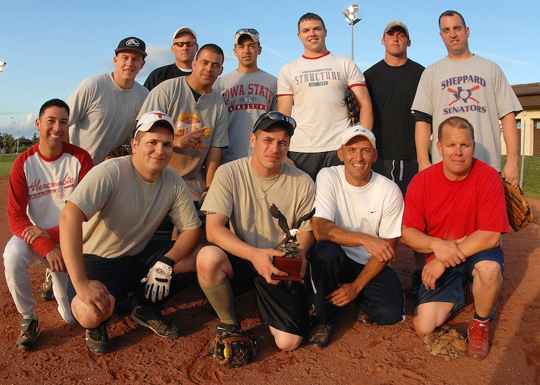 SPANGDAHLEM AIR BASE, Germany --The 52nd Component Maintenance Squadron-A team wins the base squadron softball championship trophy here July 30. The 52nd Component Maintenance Squadron-A intramural softball team defeated Security Forces 14-12 to clinch the 2009 National League Championship. (U.S. Air Force photo by Airman 1st Class Nick Wilson)