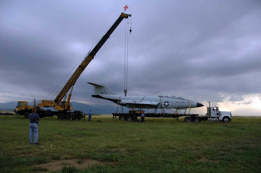 The F-101B Voodoo display aircraft was moved from its resting place near the West Gate to Pete East on July 28. The aircraft will be restored in the near future and given a prominent display as part of the Peterson Air and Space Museum aircraft collection on base. The Voodoo was 28,000 pounds of fighter interceptor power from the 1960s to the mid-1980s as part of the air and space superiority mission during the Cold War. (U.S. Air Force photo by Gail Whalen)