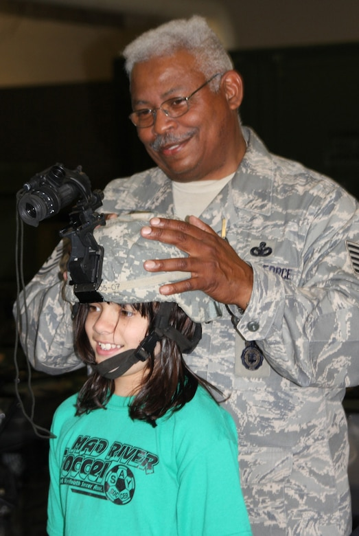 Tech. Sgt. Michael Pennington of the 445th Security Forces Squadron, Wright-Patterson Air Force Base, Ohio, explains how night-vision goggles work July 21, 2009.Sergeant Pennington and other reservists demonstrated their skills to military children participating in Operation Purple Camp July 13-14 and July 20-21. (U. S. Air Force photo/Staff Sgt. Amanda Duncan)