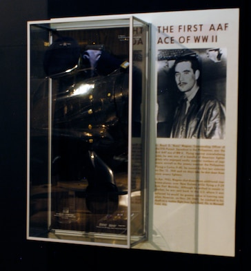 "DAYTON, Ohio -- Lt. Boyd D. ""Buzz"" Wagner exhibit in the World War II Gallery at the National Museum of the U.S. Air Force. The exhibit includes Lt. Wagner's pre-WWII dress blouse and cap, which were donated by Maj. J. Ward Boyce. (U.S. Air Force photo)"