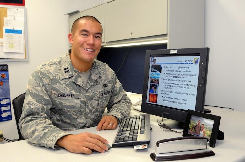 Captain Dex Landreth, DMS Group , along with Capt. Joshua Jewett, SBIRS Wing, are Fellows in the 2009 Leadership LA Program. (Photo by Joe Juarez)