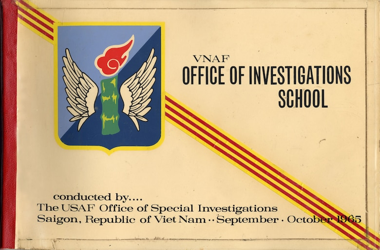 OSI trained Vietnamese criminal investigators in Southeast Asia. This class book from 1965 shows several training activities, including polygraphy and weapons training. (U.S. Air Force photo)