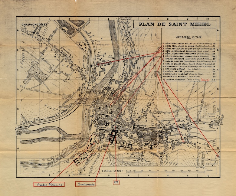 This map was used to track locations of meetings in St. Mihiel, France, with various OSI counterintelligence contacts during the early days of the Cold War. (U.S. Air Force photo)