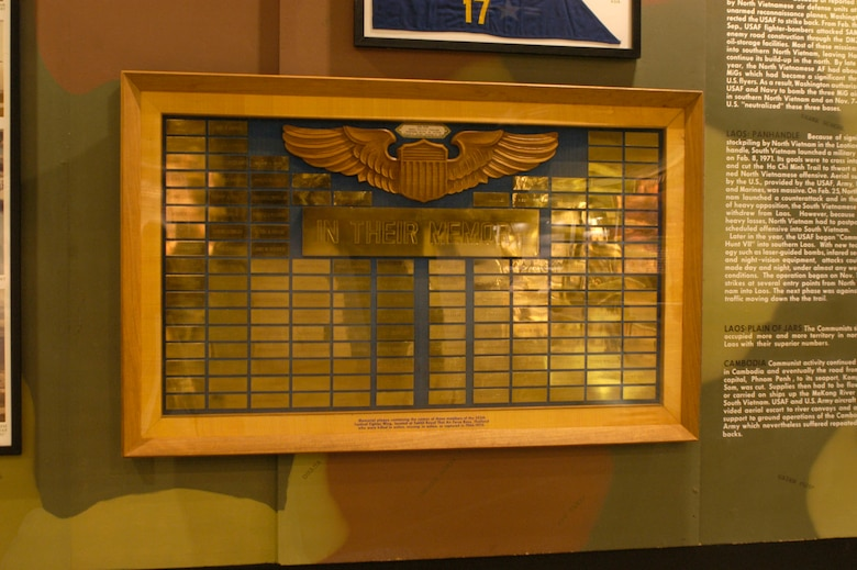 DAYTON, Ohio - Memorial plaque containing the names of those members of the 355th Tactical Fighter Wing, located at Takhli Royal Thai Air Force Base, Thailand, who were killed in action, missing in action or captured in 1966-1970. This plaque is on display in the Southeast Asia War Gallery at the National Museum of the U.S. Air Force. (U.S. Air Force photo)