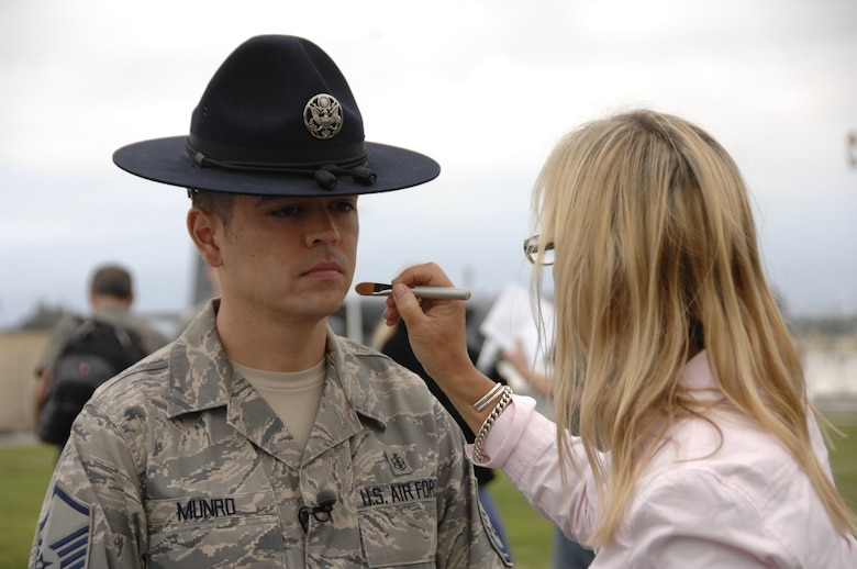 Master Sgt. Alan Munro, a former military training instructor and a member of the 129th Medical Group, has make-up applied by make-up artist, Pauline Berry, during a photo shoot for the redesign of GoANG.com at Moffett Federal Airfield, Calif., Aug. 1, 2009.  (Air National Guard photo by Tech. Sgt. Ray Aquino)