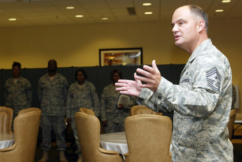 Chief Master Sgt. Dwight D. Badgett, command chief master sergeant for Air Force Reserve Command, speaks to recent graduates of the NCO Leadership and Development Course at a recognition ceremony at the Dobbins Air Reserve Base (Ga.) Consolidated Club July 31, 2009. The chief visited Dobbins July 31 and Aug. 1 as part of his duties as adviser to the AFRC commander on enlisted matters. (U.S. Air Force photo/Don Peek)