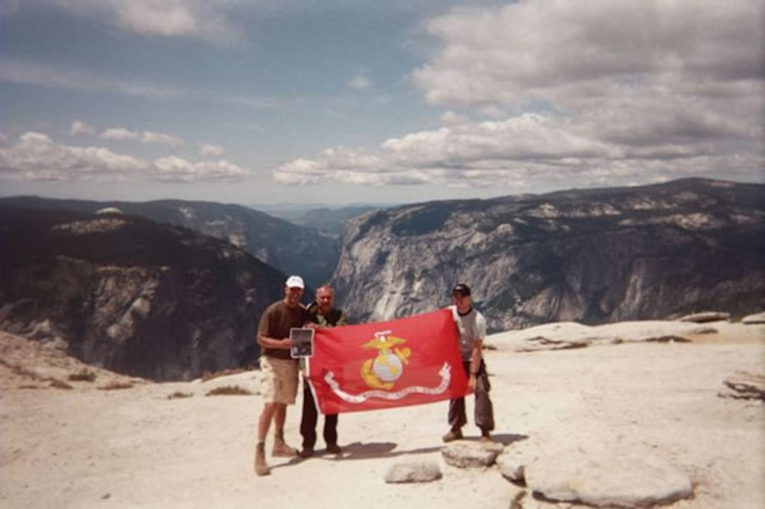 Navy chaplain Joe Coffey and his group pose for a photo Aug. 7 after completing the Lewis B. Puller Memorial Hike atop of Half Dome at Yosemite National Park in California.