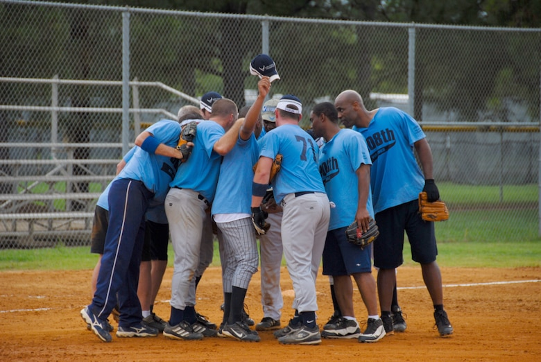 The 908th Airlift Wing softball team captured the Maxwell-Gunter intramural softball championship title July 30 against the Electronic Systems Group team. The 908th won the championship for the second consecutive year. (U.S. Air Force photo/Jamie Pitcher)