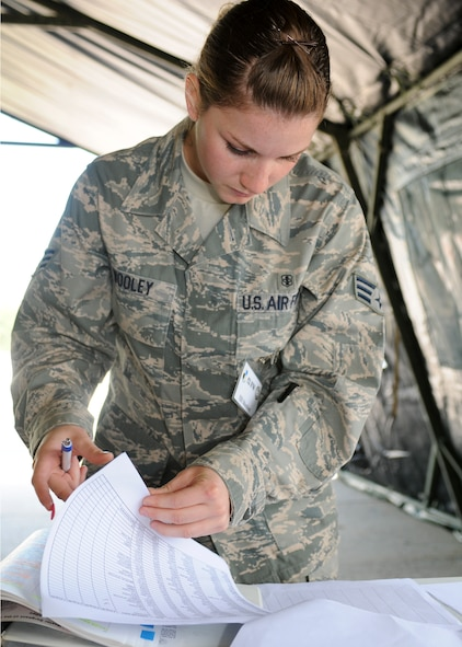 SPANGDAHLEM AIR BASE, Germany -- Senior Airman Sarah Wooley, 52nd Dental Squadron, searches for personnel on an entry authorization list at an exercise indoctrination station Aug. 4. The list controls who is allowed into the tactical area of responsibility here during the 52nd Fighter Wing's Phase II exercise. (U.S. Air Force photo/Airman 1st Class Nathanael Callon)