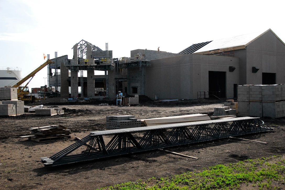 SIOUX FALLS -- A work in progress, the new CE building May 15.  (U.S. Air Force Photo by Master Sgt. Nancy Ausland)