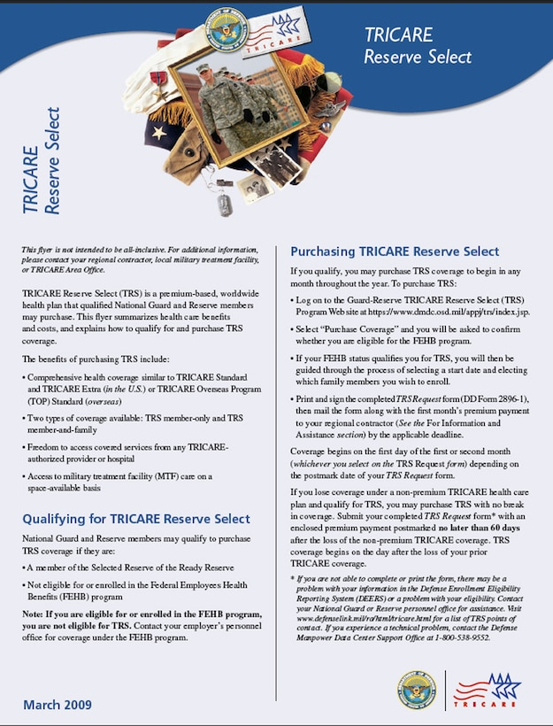 """TRICARE Reserve Select March 2009 flyer, Page 1. According to an electronic message sent on behalf of TRICARE officials, the TRICARE Reserve Select March 2009 Flyer and the TRS website www.tricare.mil/trs are to be considered by U.S. Guard and Reserve as """"the primary sources of comprehensive TRS public information."""" (Image courtesy of TRICARE)"""