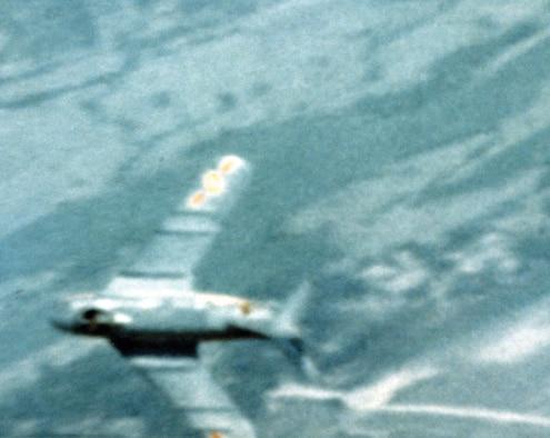 Gun camera photo shows North Vietnamese fighter. (U.S. Air Force photo)