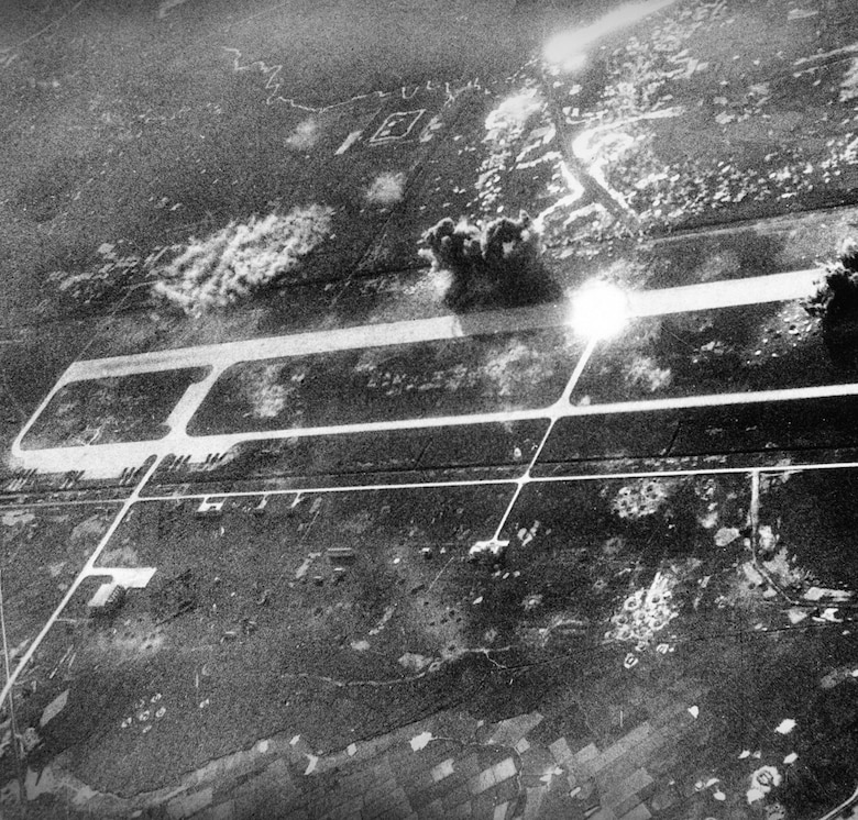 USAF bombs hit Phuc Yen airfield northwest of Hanoi, 1967. (U.S. Air Force photo)