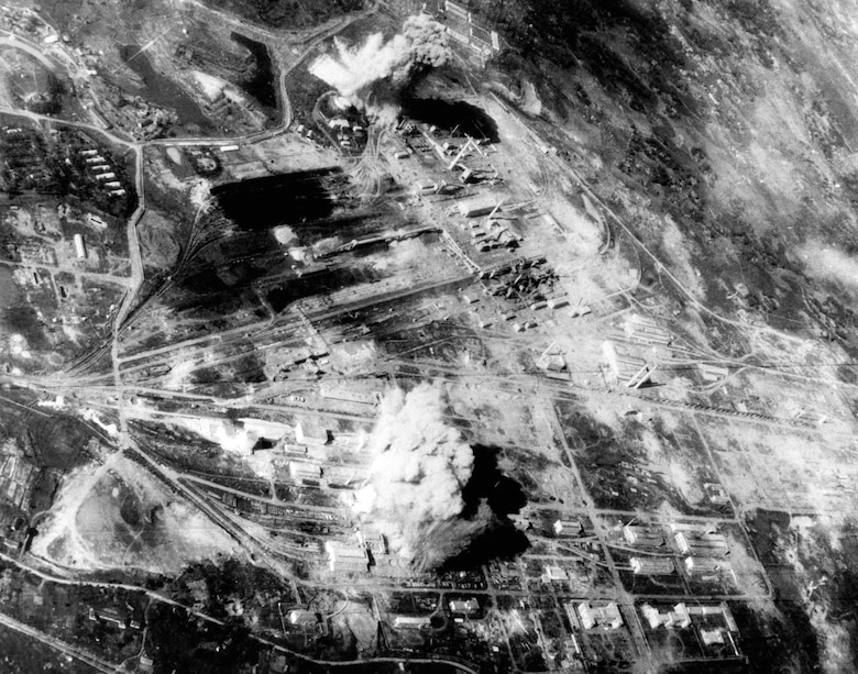 USAF attack on the Thai Nguyen steel plant north of Hanoi, 1967. (U.S. Air Force photo)