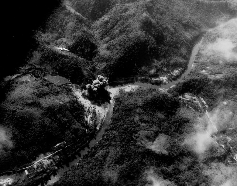 F-105s attack a bridge in southern North Vietnam, 1966. (U.S. Air Force photo)