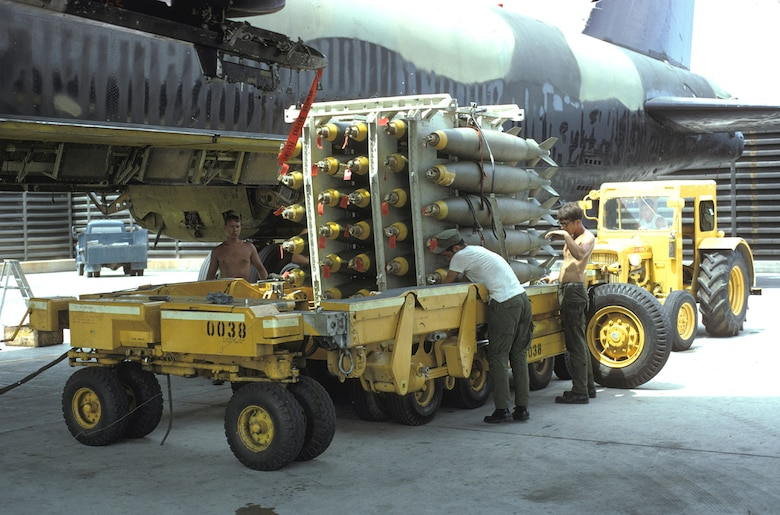 B-52 being loaded with bombs. (U.S. Air Force photo)