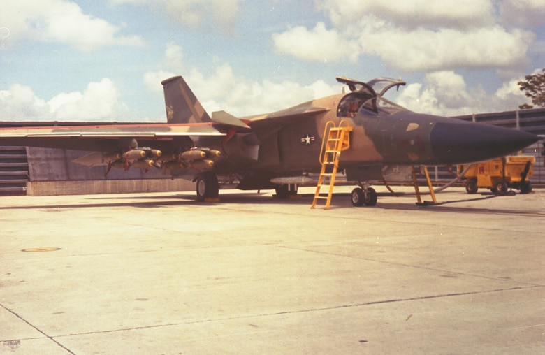 COMBAT LANCER F-111A at Takhli Royal Thai Air Force Base in September 1968. It is loaded with 24 500-pound bombs. (U.S. Air Force photo)