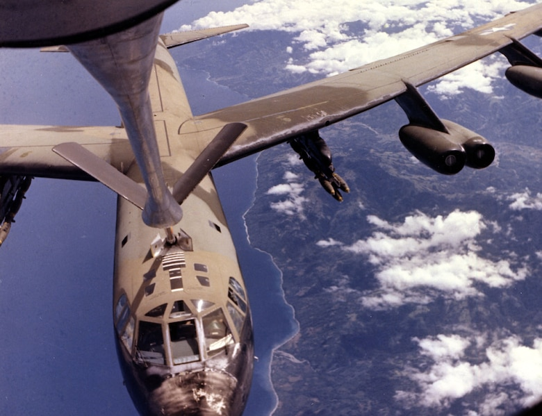 B-52 refuels en route to target. (U.S. Air Force photo)