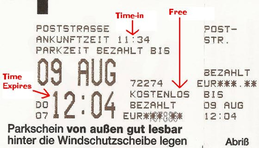 SPANGDAHLEM AIR BASE, Germany -- This example of a parking ticket shows the date and time of expiration for free parking. Similar tickets are used for paid parking. (Courtesy graphic)