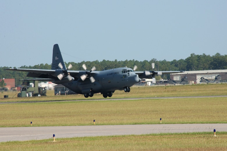 McEntire Joint National Guard Base's C-130 practices different landing manuevers at the base's runway.           (SCANG photo by SSgt Caycee Cook 20070909)
