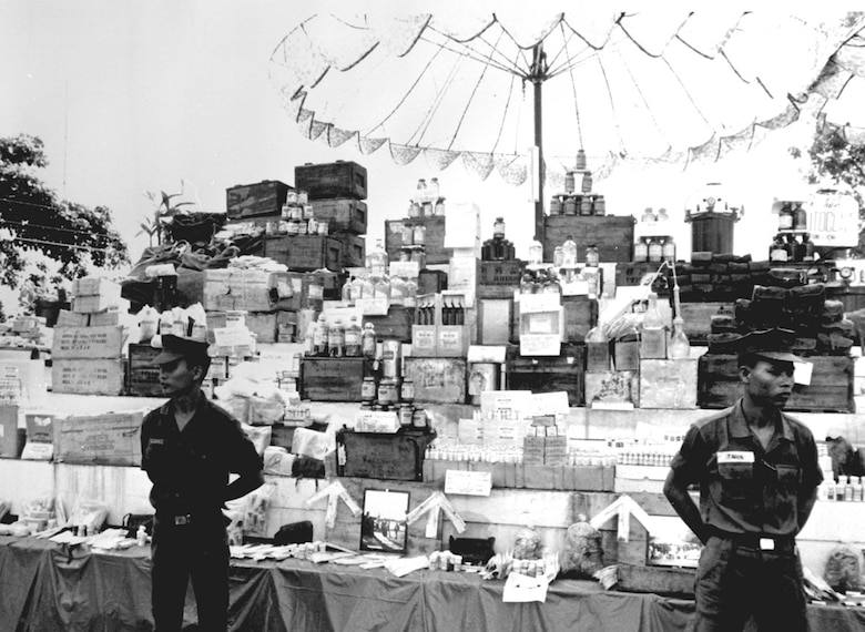 Supplies captured in the effort to eliminate sanctuaries. (U.S. Air Force photo)