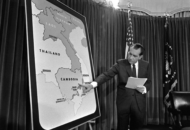 President Nixon explains operations in Cambodia. (U.S. Air Force photo)