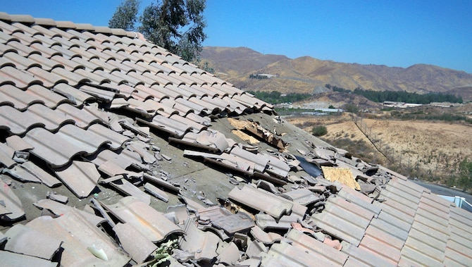 A Cessna aircraft damaged the roof to the Welz family home in Corona, Calif. (Courtesy photo)