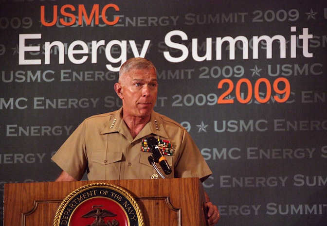 Commandant of the Marine Corps, Gen. James T. Conway addresses the audience at the 2009 Marine Corps Energy Summit at the Hyatt Regency Hotel August 13. The topics discussed ranged from cutting back on inefficient energy use on the battlefield, operating in an expeditionary environment, energy challenges at installations and attempts to attain self sufficiency and sustainability. 'We will be more energy efficient. We have to be.' Conway said.::r::::n::::r::::n::