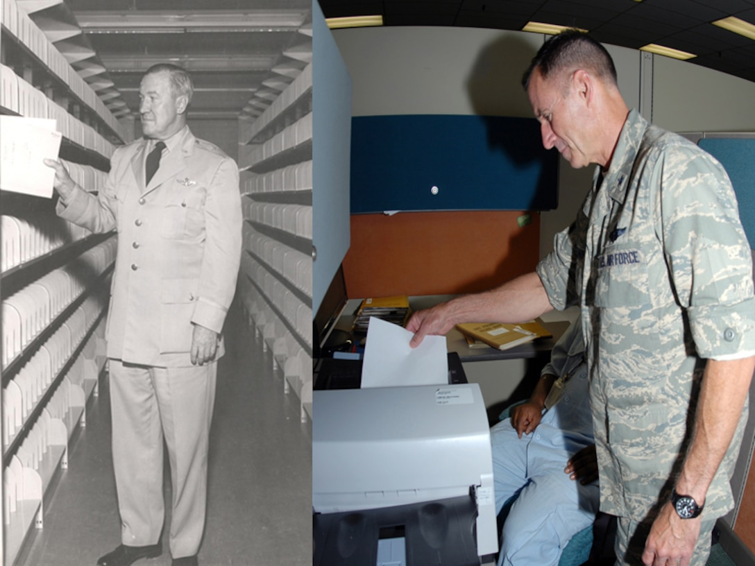 Brig. Gen. W.C. Morse, left, enters the first master personnel record in the open shelf files at the Air Reserve Records Center in Denver in 1957. Fifty-two years later, Brig. Gen. Kevin E. Pottinger, right, scans one of the last Air Force Reserve unit personnel records at the Air Reserve Personnel Center. Contract employees in ARPC converted the last unit personnel record group to an electronic record Aug. 4, 2009. (U.S. Air Force photo illustration/Eric Valdez)