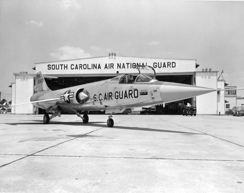 F-104 fighter on the ramp at the South Carolina Air National Guard Base, Congaree Air Field.  1960's era photo.