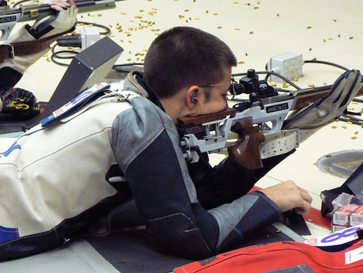 Cadet 3rd Class Michael Seery takes aim in the prone position during a shooting competition. Cadet Seery, a computer science major at the U.S. Air Force Academy in Colorado Springs, Colo., won awards in the collegiate category at the 2009 National Rifle Championships. (courtesy photo)