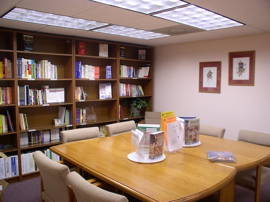 The library at the Discovery Resource Center. (U.S. Air Force photo by Megan Elsner)