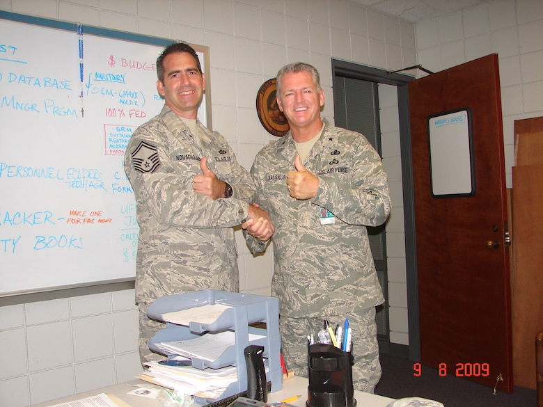 """202nd RED HORSE SMSGT James Householder (Facilities Manager) gets a """"Thumbs Up!"""" from Brigadier General Joseph Balskus, during an August 2009 Unit Compliance Inspection at RED HORSE.  SMSGT James Householder also serves as Structural Superintendent.  UCI Team Chief Colonel Mark Moore said RED HORSE did """"very, very well"""" in the Unit Compliance Inspection."""