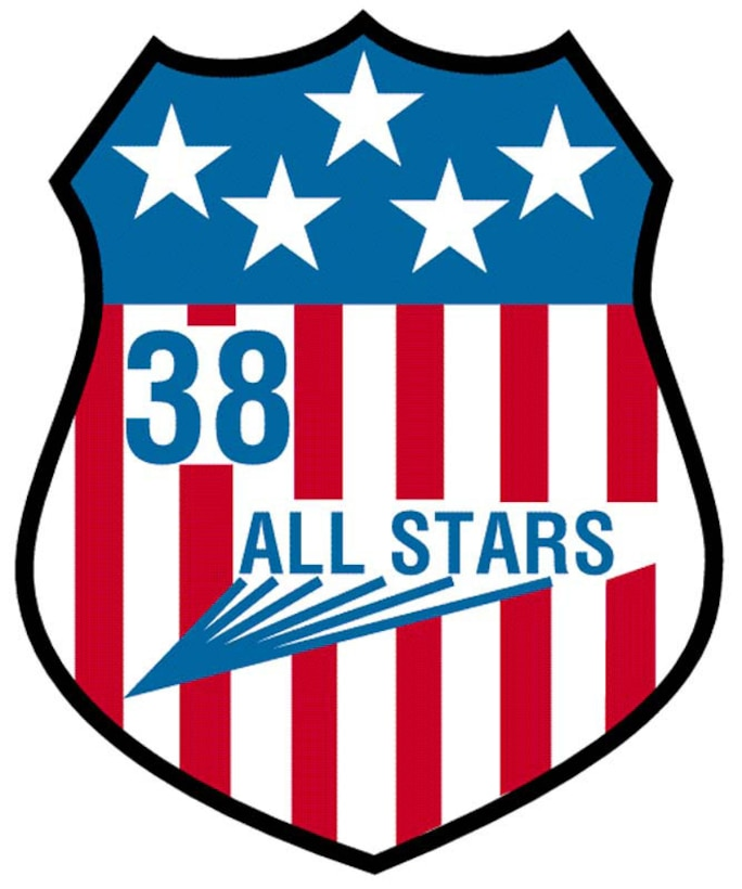 """The patch, shaped like a shield and outlined in black, has five white stars on a blue background in its upper portion. The nickname """"ALL STARS"""" leaves blue contrails as it flares from the red and white vertical stripes of the lower portion. The blue numeral """"38"""" sits to the upper left of the nickname.The patch resembles the American flag and the Air Force shield and symbolizes the qualities of patriotism, courage and devotion to duty. """"ALL STARS"""" is testimony to the excellence with which each squadron member performs his duties and responsibilities. The five stars stand for the five ideals of the squadron: character, discipline, devotion to duty, excellence and pride.This second patch of the squadron was approved in 1972."""