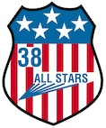 "The patch, shaped like a shield and outlined in black, has five white stars on a blue background in its upper portion. The nickname ""ALL STARS"" leaves blue contrails as it flares from the red and white vertical stripes of the lower portion. The blue numeral ""38"" sits to the upper left of the nickname.