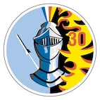 """The patch is a circle with a knight's helmet, topped with a four-color plume, in the center. A stylized black and white aircraft leaves a contrail on a blue field to the helmet's left. To its right, the red numeral """"30"""" sits amid red-highlighted yellow flames on a black field.The knight's helmet represents the military profession--cadet's heritage. The four-colored plume symbolizes the four classes. The flames stand fro war, to which the helmet is impervious. The ascending aircraft on the left suggests freedom of the skies and a peaceful contrast to the flames of war.This is the squadron's original patch. It may be found with variations in the blue colors."""