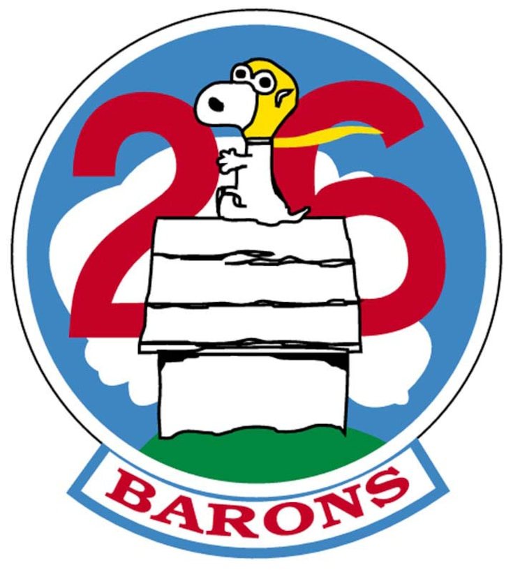 """The patch depicts Snoopy wearing a gold World War I flying helmet and sitting on his sliver dog house atop a bright green hill. The large red numeral """"26"""" is displayed on a blue sky above Snoopy. White clouds form above the numerals. """"BARONS"""" is written in red letters at the bottom of the patch.Charles Schulz' familiar comic strip character was chosen because of his doggedness in getting the job done--despite constant setback in his pursuit of the Red Baron. Snoopy continually comes back for more, setting a fine example for the cadets of the 26th. The patch also represents the Air Force's air power heritage and contains the four class colors.This is the squadron's original patch. A variation may exist without the """"BARONS"""" tab."""