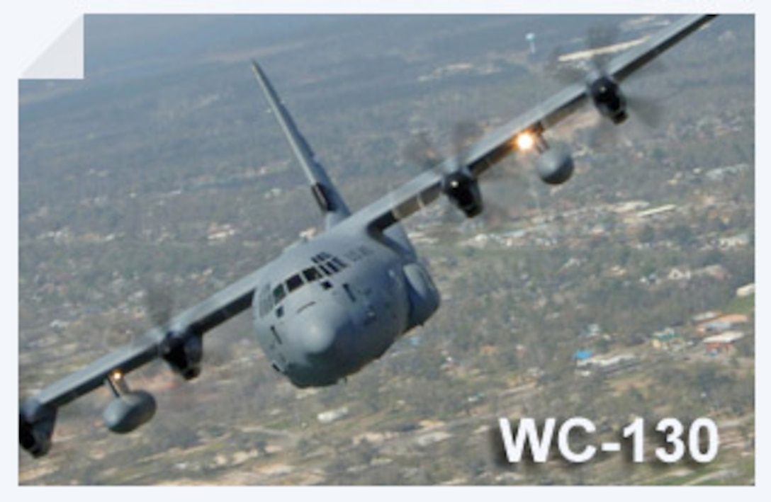 The WC-130 Hercules is a high-wing, medium-range aircraft flown by the Air Force Reserve Command for weather reconnaissance missions. The WC-130J is the weather data collection platform for the 53rd Weather Reconnaissance Squadron located at Keesler Air Force Base, Miss. (U.S. Air Force illustration)