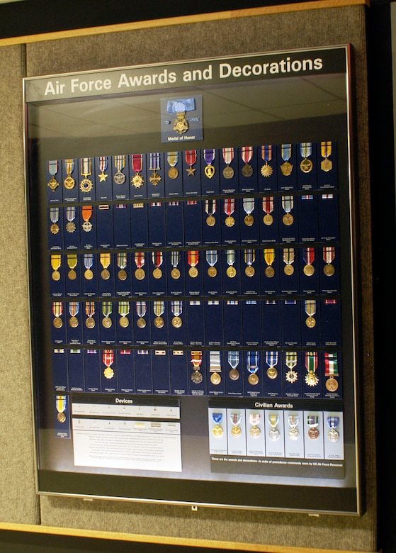 DAYTON, Ohio -- USAF Awards and Decorations exhibit at the National Museum of the U.S. Air Force. (U.S. Air Force photo)