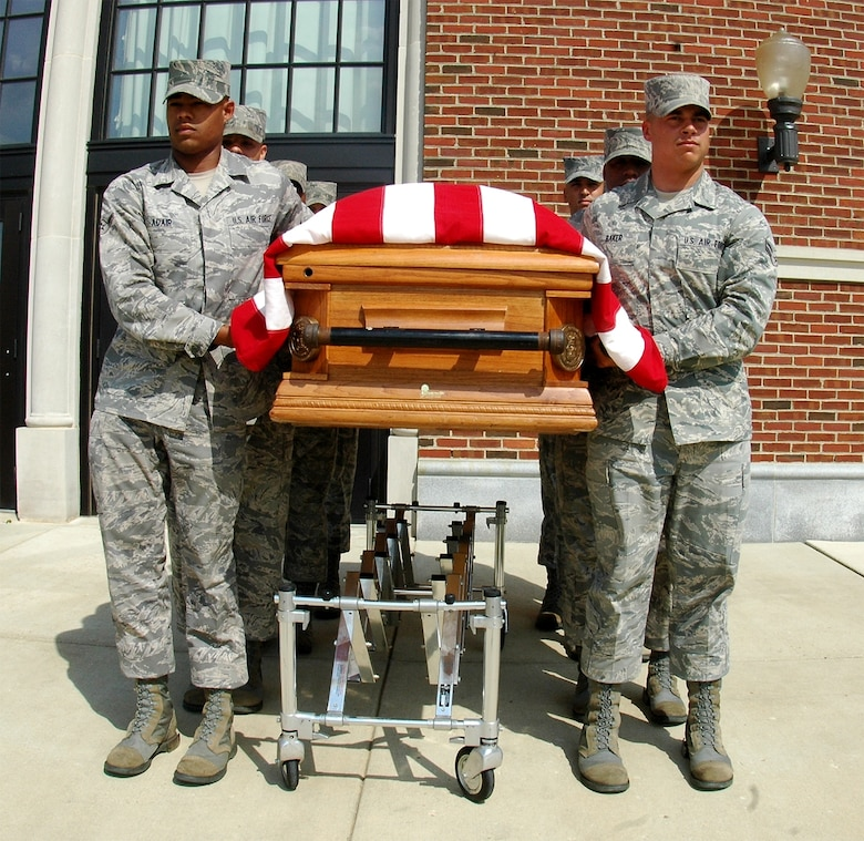 United States Honor Guard body bearers train with a weighted casket to prepare for funereal duties performed every day. Difficulties faced in training prepare the bearers for the difficulties they will face on the job. As part of the Honor Guard, body bearers represent the United States Air Force and go through a stringent screening process to ensure qualifications for the special duty. (U.S. Air Force photo by Airman 1st Class Katherine Windish)