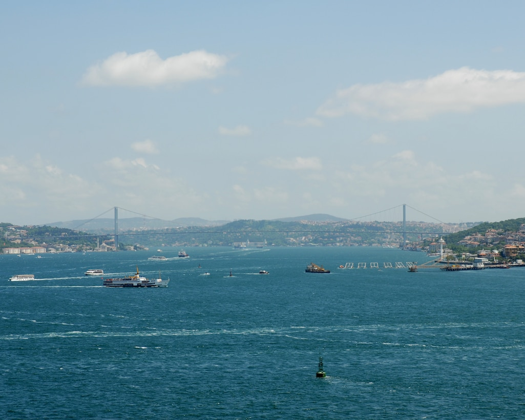 The Bosphorus Bridge crosses Bosphorus Straight and links Europe to Asia in the city of Istanbul. The suspension bridge was  completed in 1973 and cost $200 million. Istanbul is the largest city in Turkey and has also been called Byzantium and Constantinople throughout history and links Europe to Asia. (U.S. Air Force photo/Staff Sgt. Lauren Padden)