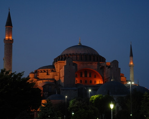 The Aya Sofya or as it is called in English, the Church of the Divine Wisdom, was completed in 537 AD by Emperor Justinian as a church and then was converted to a mosque in 1453 by Mehmet the Conqueror.  In 1935 Ataturk proclaimed the mosque a museum.  (U.S. Air Force photo/Staff Sgt. Lauren Padden)