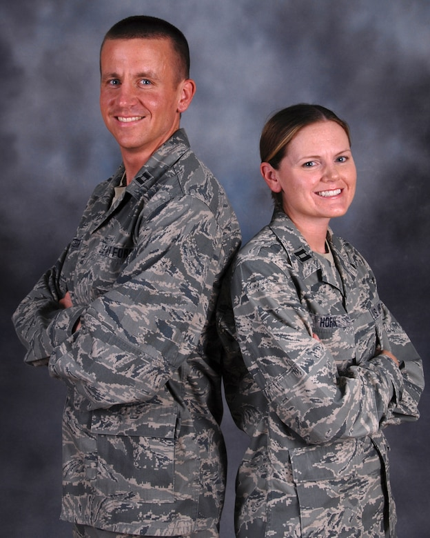 Capt. Michael Western, 71st Expeditionary Air Control Squadron air surveillance officer and southwest regional interface control officer, is deployed alongside his sister, Capt. Jeannie Horn, 71 EACS maintenance chief. Captains Western and Horn hail from Boyd, Wis. and are deployed from the Wisconsin Air National Guard in support of Operations Iraqi and Enduring Freedom.  (U.S. Air Force Photo/Tech. Sgt. Jason W. Edwards)