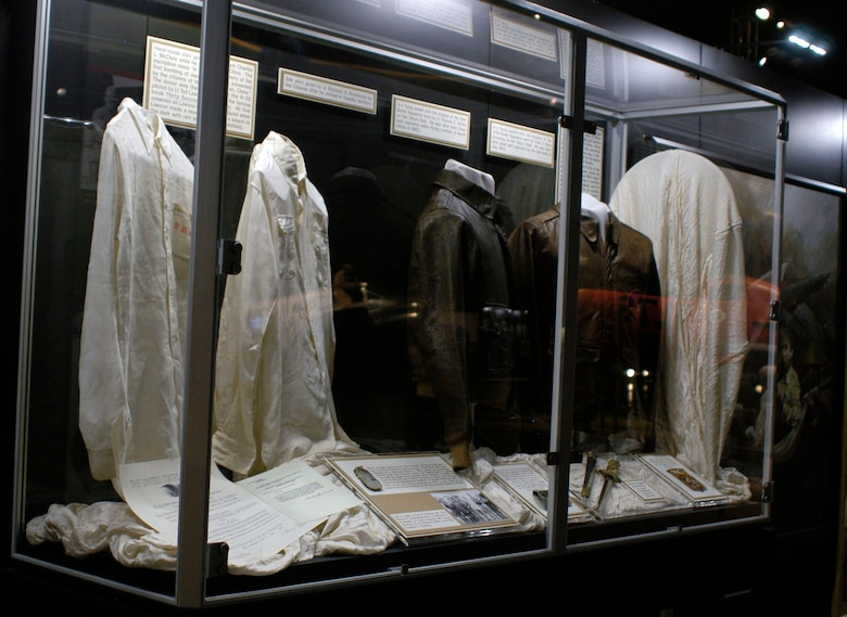 DAYTON, Ohio -- Silk Shirts Worn by Raiders (left) and Raiders Flying Jackets (right) on display in the World War II Gallery at the National Museum of the U.S. Air Force. (U.S. Air Force photo)