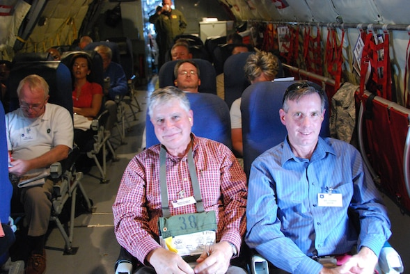 Honorable Dan O'Neal, Mayor of Edmond, Oklahoma and Frank Bean, right, President of the Choctaw, Oklahoma Chamber of Commerce are enjoying their flight aboard a KC-135 Stratotanker.  The two were part of a Team Tinker Civic Leader flight held August 13-14 hosted by the 507th Air Refueling Wing and Tinker Air Force Base.