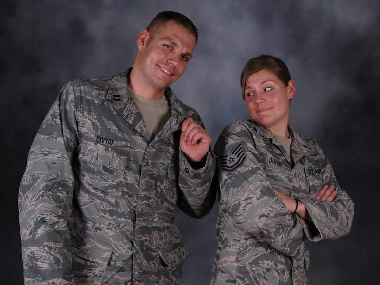 Capt. Christopher Divyak, 71st Expeditionary Air Control Squadron, is deployed alongside his sister, Tech. Sgt. Katherine Divyak, also of the 71st EACS. The brother and sister pair are natives of Tomah, Wis., and deployed from the Wisconsin Air National Guard in support of Operations Iraqi and Enduring Freedom.  (U.S. Air Force Photo/Tech. Sgt. Jason W. Edwards)
