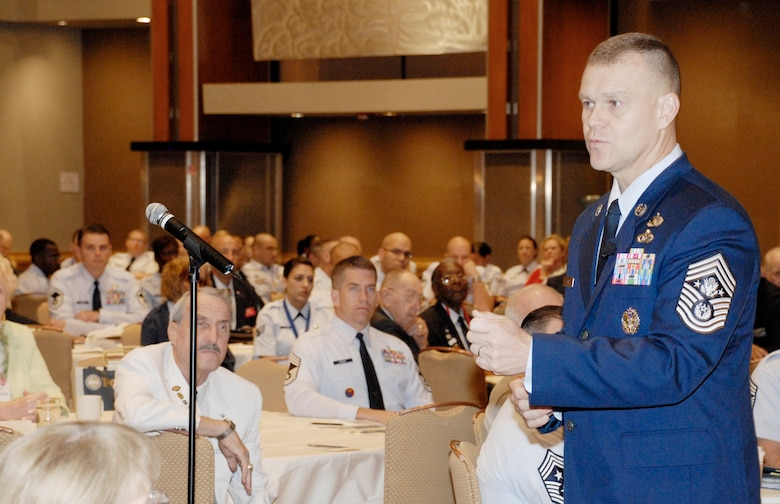 Chief Master Sergeant of the Air Force James Roy speaks to an Air Force Sergeants Association Professional Airmen's Conference audience Aug. 18 in Atlanta, during which he praised the enlisted force and highlighted several of his key priorities. (U.S. Air Force Photo/Master Sgt. Stan Parker)