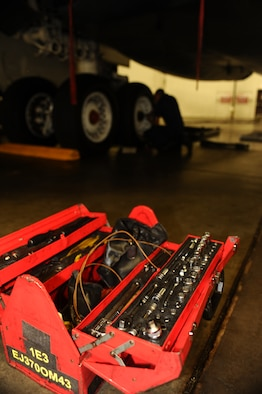 This tool kit contains equipment to service Ellsworth's B-1B Lancers here, August 19. Maintainers fine-tune the B-1s 24 hours a day to ensure flight capabilities. (U.S. Air Force photo/Senior Airman Kasey Zickmund)