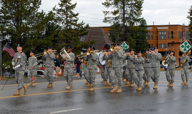 Fort Carson Army band members march during the rally parade.  The Army Band played throughout the day, including each of the services' songs. (U.S. Air Force photo by Senior Airman Stephen Musal)
