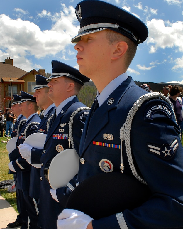 Mile High Honor Guard members stand at attention prior to performing a prisoner of war and missing in action ceremony at the Salute to American Veterans Rally and Festival in Winter Park, Colo, Aug. 15. (U.S. Air Force photo by Tech. Sgt. J. LaVoie)